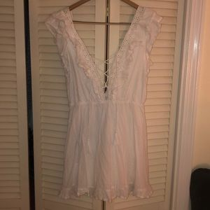 White lace tie up dress